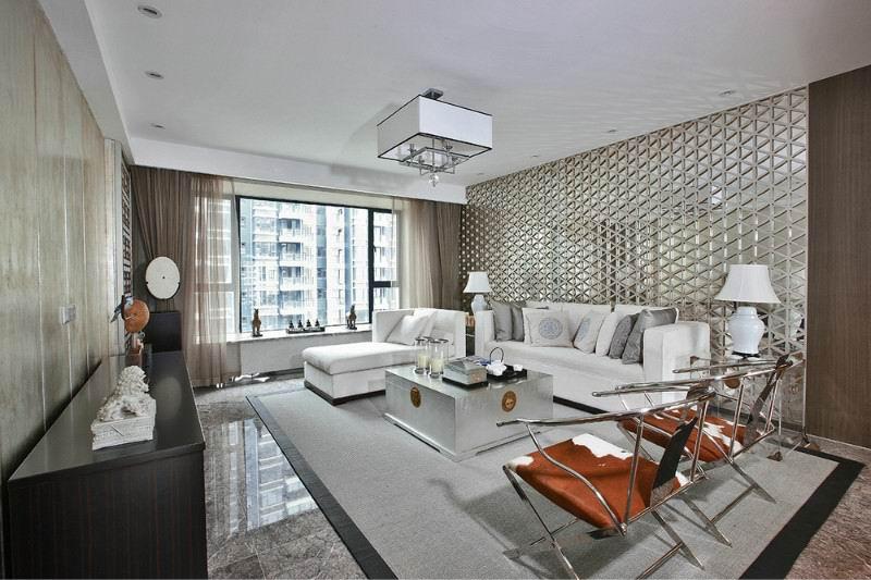 冷金属现代新中式风格客厅不锈钢背景墙造型设计_装修百科图片