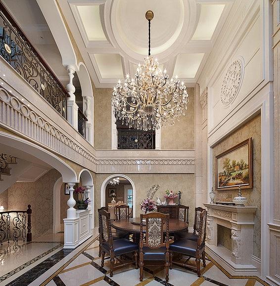 大气豪华古典欧式风格别墅挑高餐厅设计装修图_装修百科