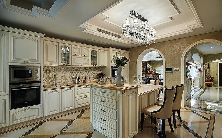 装修效果图 装修美图 豪华欧式别墅厨房拱形垭口隔断设计