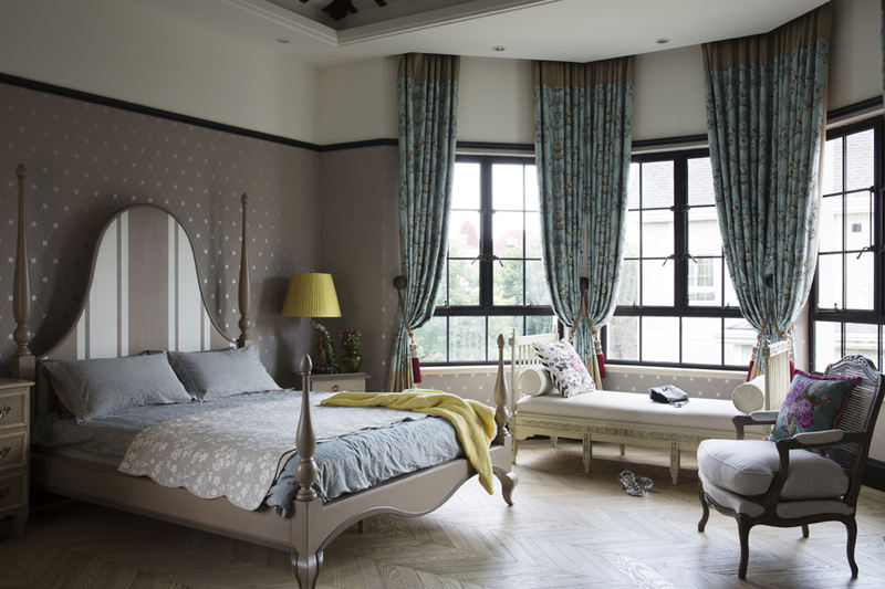 简欧复古别墅卧室弧形窗户设计装修欣赏图_装修百科