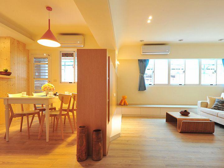 简约设计原木装修小户型室内隔断效果图