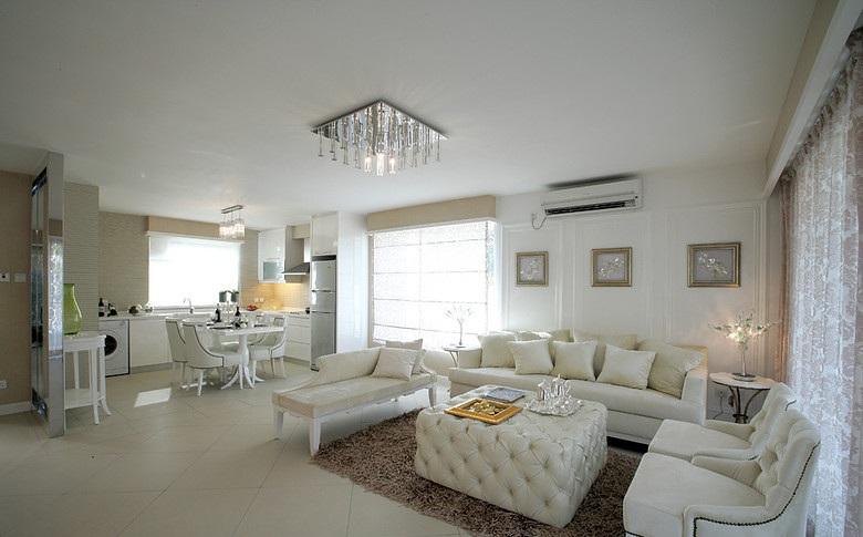 米白色温馨简约复式室内装修图
