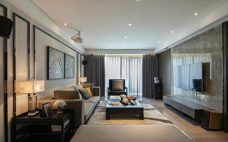 简约设计现代装修居家客厅大理石电视背景墙效果图_装修百科