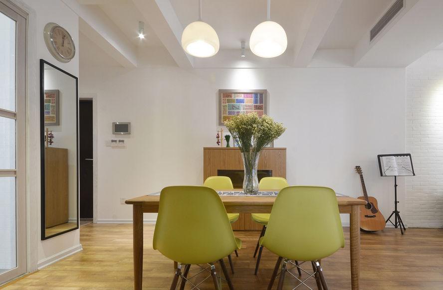 绿色原木北欧风格餐厅简易餐桌椅布置图-2018绿色宜家风格鞋柜餐厅
