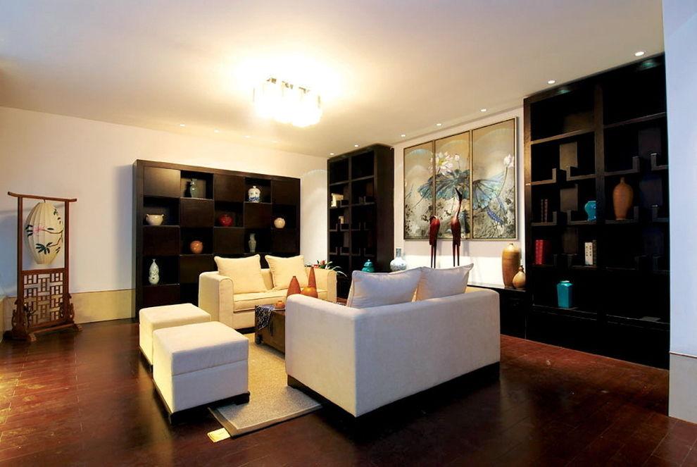 中式現代設計裝修別墅客廳裝潢圖