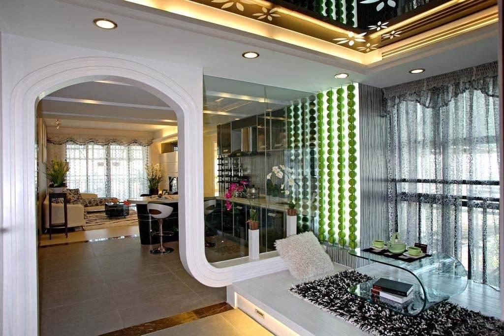 时尚现代家居垭口拱形门带玻璃窗隔断效果图_装修百科