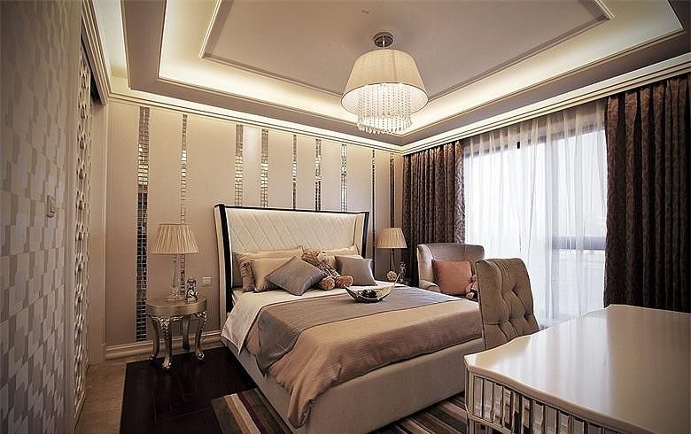精美现代欧式风格卧室床头背景墙装饰效果图_装修百科