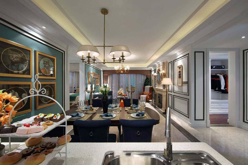 140平精致美式新古典三室两厅装饰案例