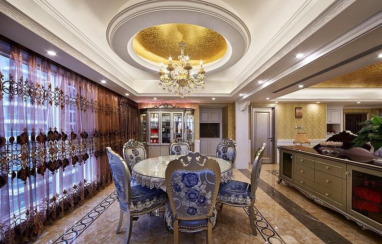 装修效果图 装修美图 大气豪华新古典欧式餐厅吊顶欣赏图