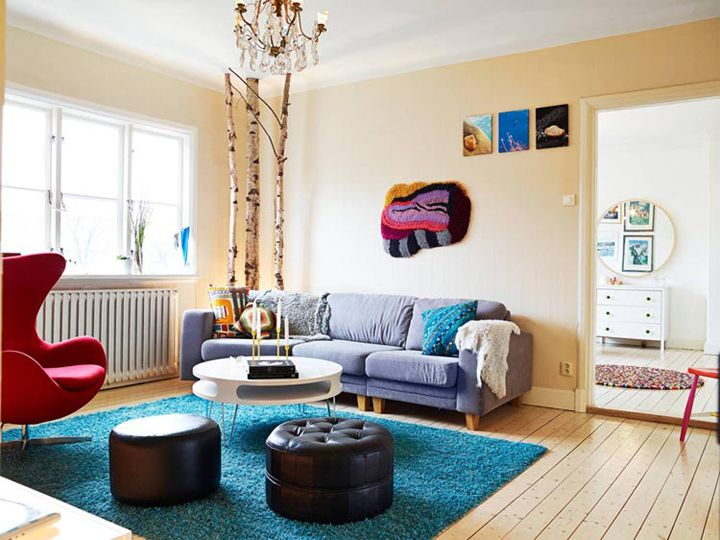48平清新多彩北欧风格小户型一居装饰效果图
