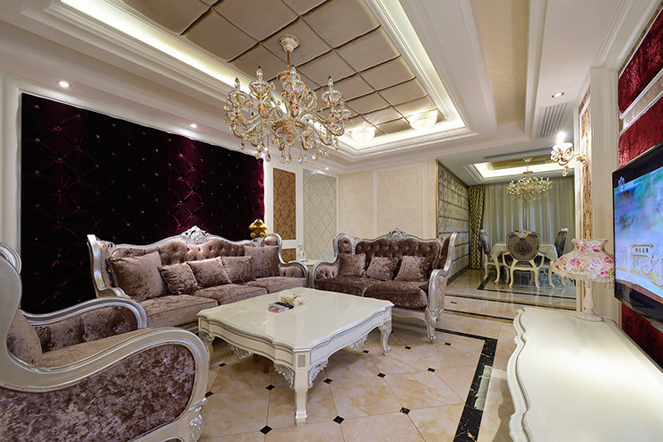 高端豪华欧式装修风格三居室内隔断设计图_装修百科