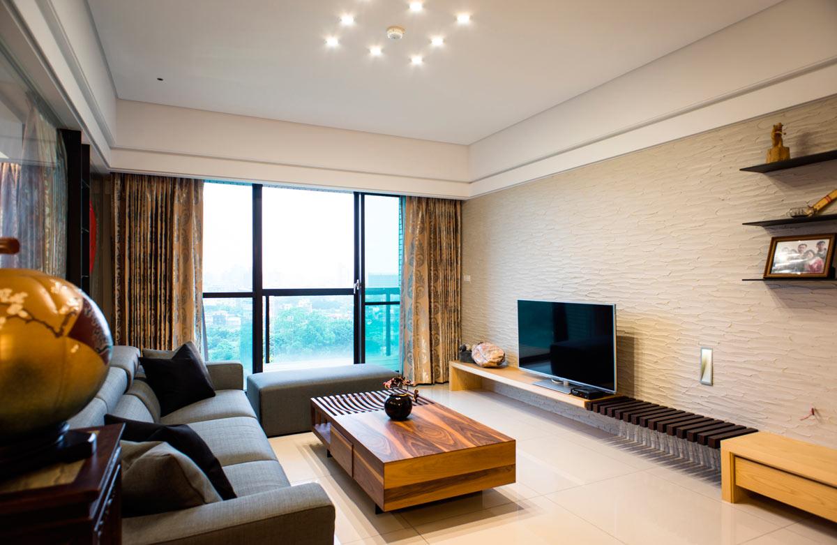 装修效果图 装修美图 时尚现代日式混搭客厅硅藻泥电视背景墙装饰图