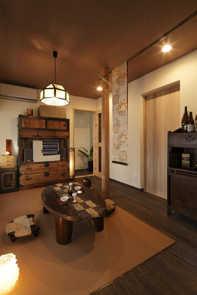 古樸日式風格三居室內吊頂效果圖