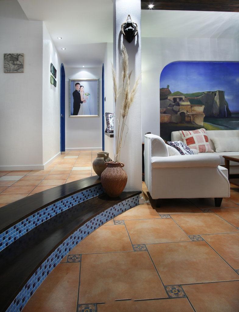 简约地中海风格家居隔断设计台阶效果图_装修百科