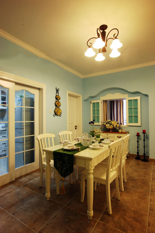 藍色清新田園地中海餐廳設計裝修效果圖