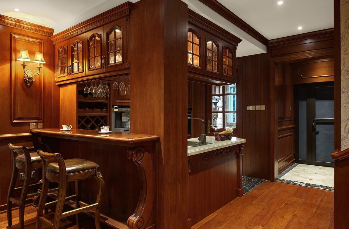 装修效果图 装修美图 高端实木美式豪华吧台设计装修图
