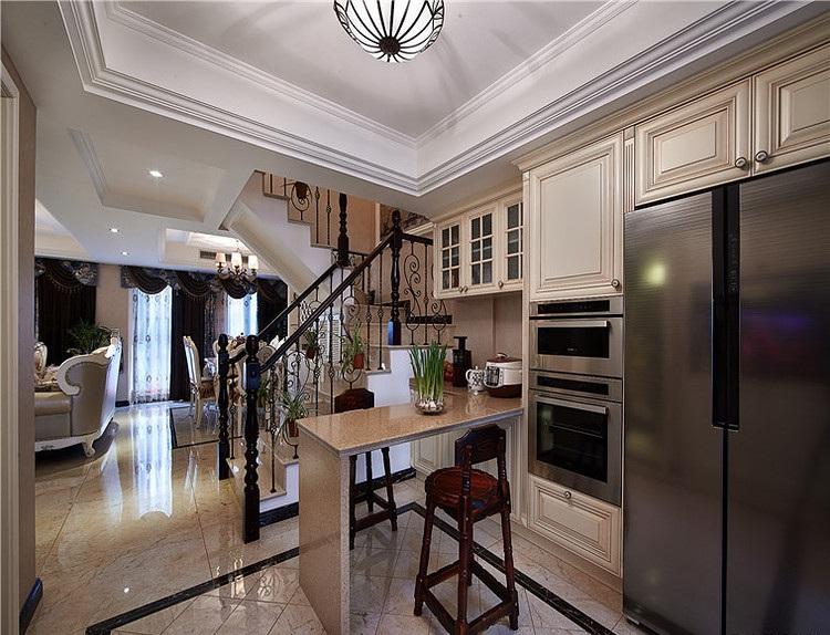 时尚欧式风格厨房大理石吧台设计装修图_装修百科
