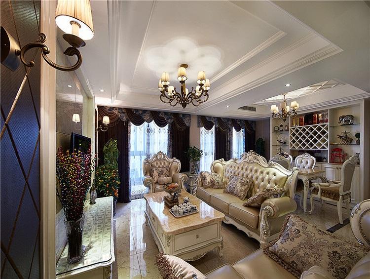 奢华欧式浪漫风格复式家装隔断吊顶装修图片_装修百科