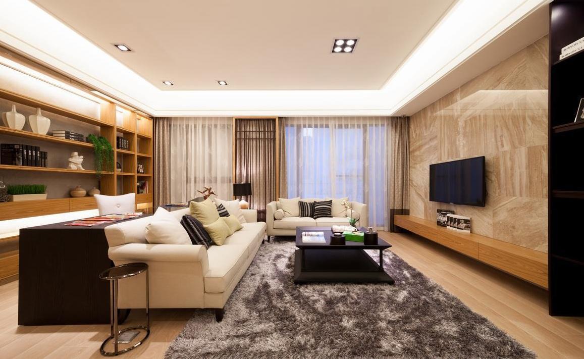 淡雅樸素日式公寓客廳大理石背景墻裝飾效果圖