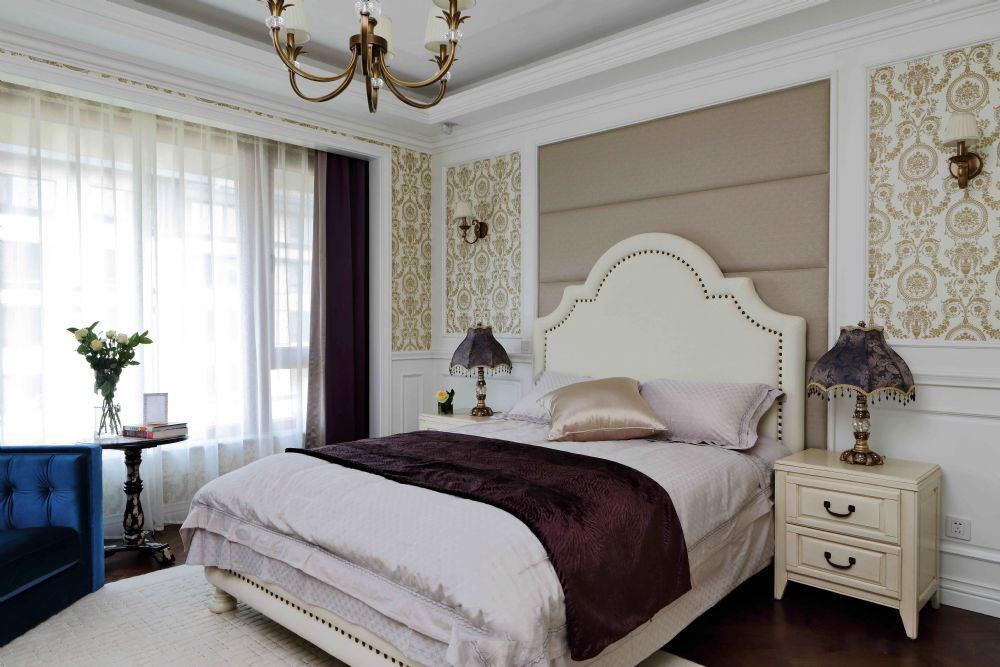 装修效果图 装修美图 欧式装修风格卧室床头背景墙设计装潢图
