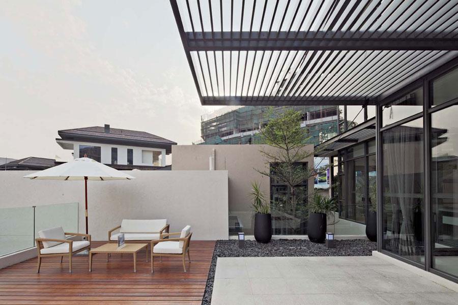 40平现代时尚别墅半露天阳台设计效果图
