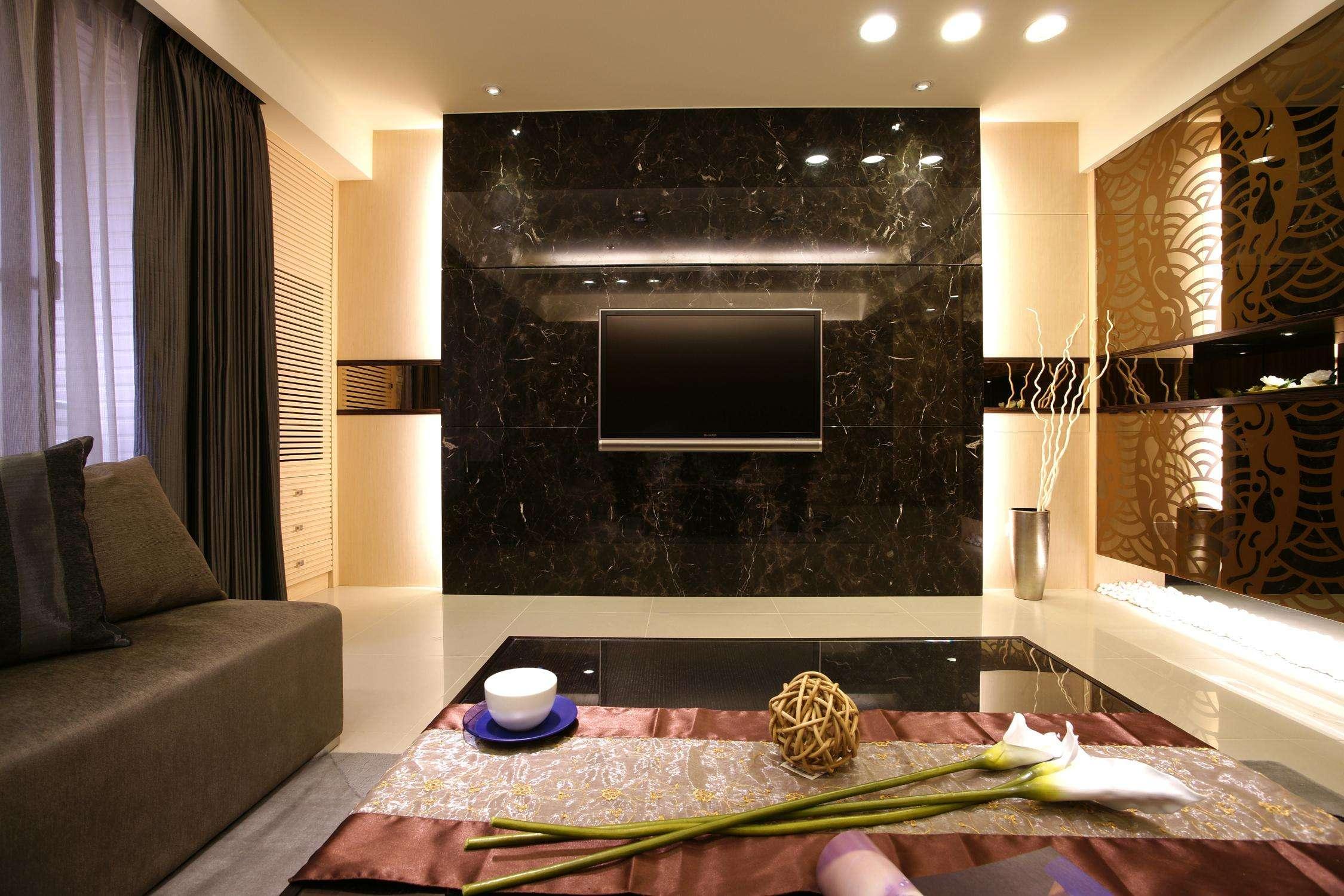 现代家装设计客厅大理石电视背景墙装饰效果图_装修百科