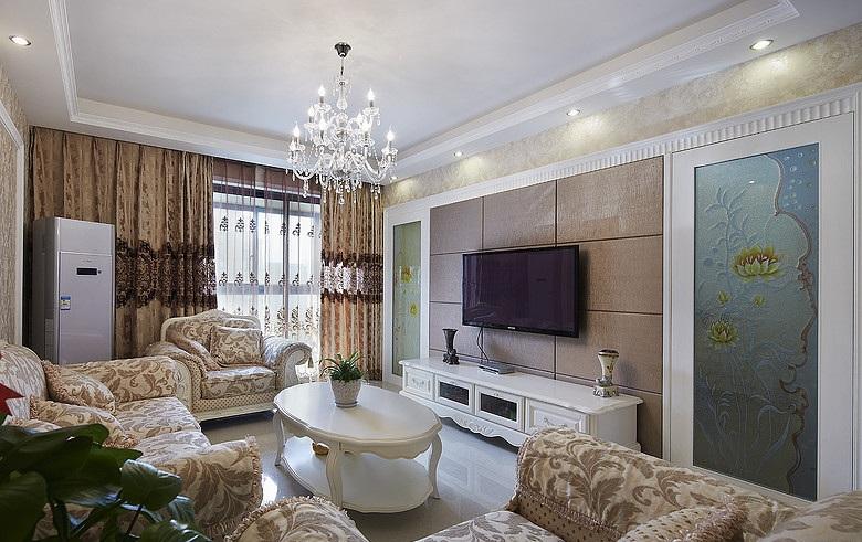 低奢浪漫简欧风格客厅隐形门背景墙装饰设计图_装修百科