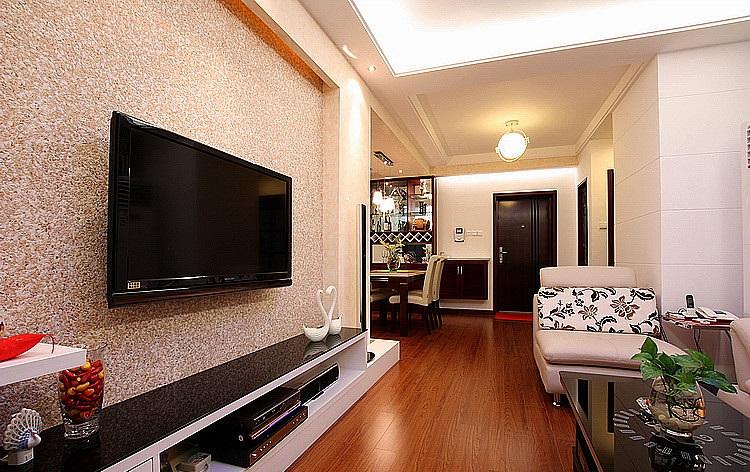 装修效果图 装修美图 现代时尚家居客厅硅藻泥电视背景墙装饰图 现代