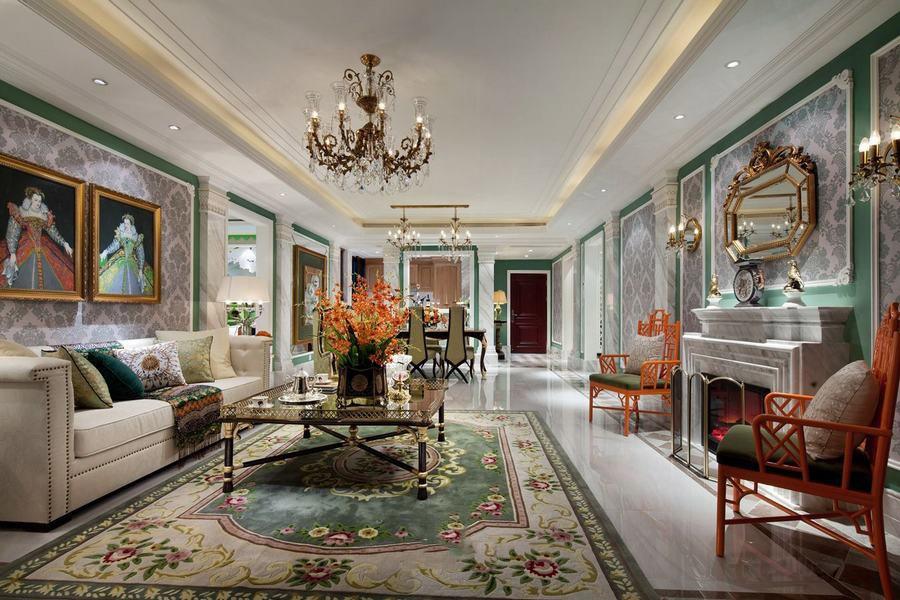 经典绿色豪华欧式风格别墅室内设计装潢案例_装修百科