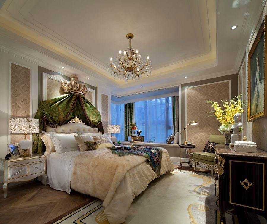 经典绿色豪华欧式风格别墅卧室吊顶设计案例