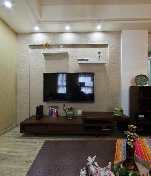 简朴现代客厅电视背景墙装修设计效果图-电视背景墙装修效果图
