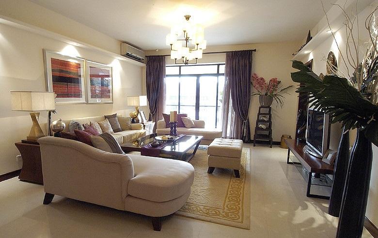 現代時尚中式風格三居客廳裝飾效果圖