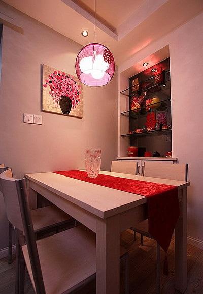 紅色精美現代風格三居婚房餐廳裝飾效果圖