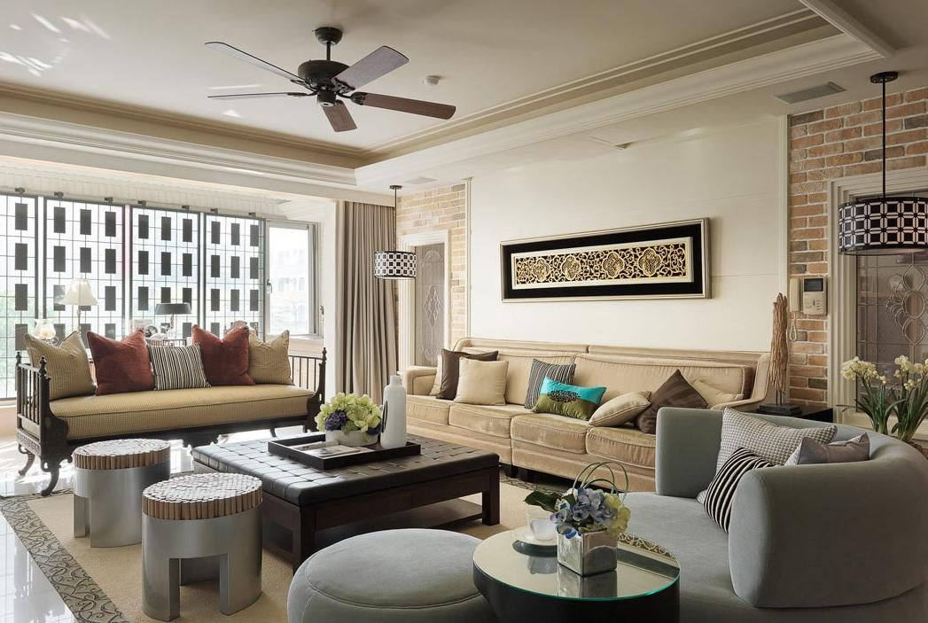 120平新古典創新設計風格三居客廳裝潢案例圖片