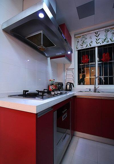 装修效果图 装修美图 红色喜庆现代风格婚房厨房橱柜装饰图
