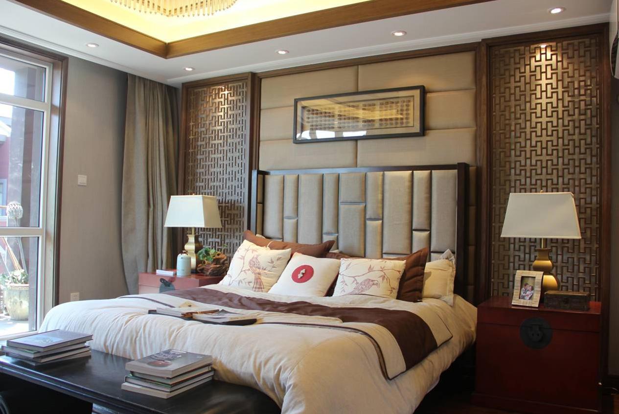 仿古中式卧室床头背景墙装饰效果图_装修百科
