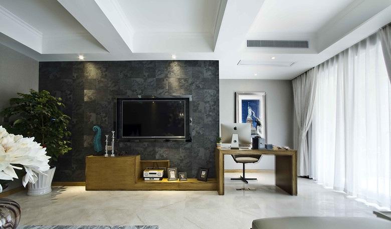 时尚现代北欧风格家居电视深色背景墙装饰图_装修百科