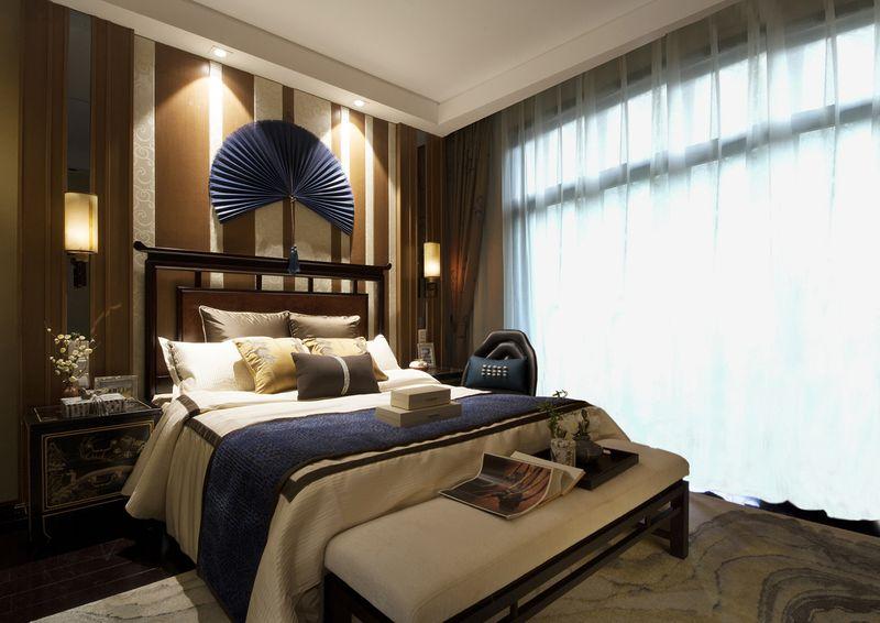 高雅新古典中式臥室床頭背景墻裝飾效果圖
