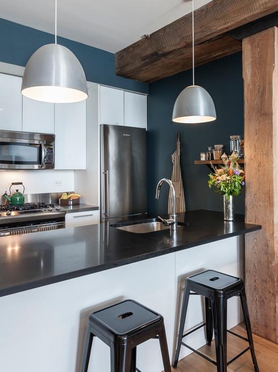 复古北欧风格厨房吧台设计效果图-2017黑色新古典风格吧台厨房装修