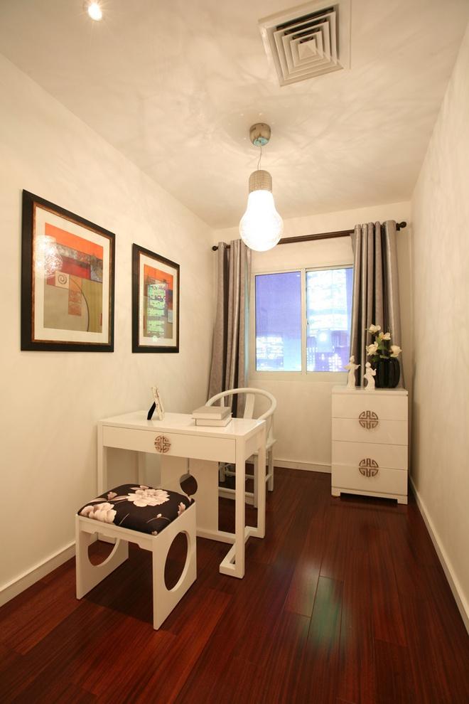 现代简中式风格单身公寓小书房设计装修图_装修百科