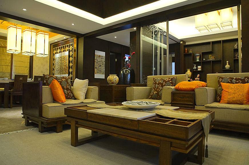 新古典中式裝修風格客廳年代實木茶幾裝飾圖
