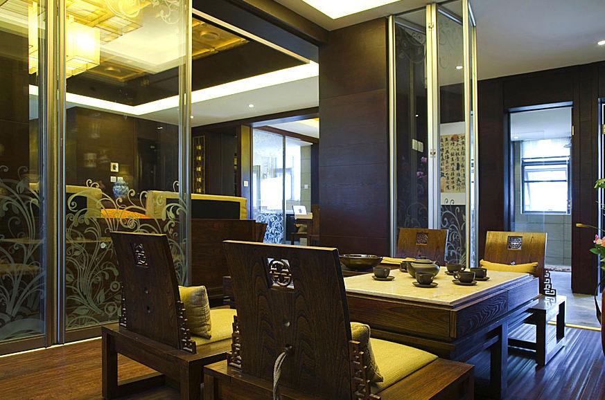 新古典中式家装茶室隔断设计装修图_装修百科