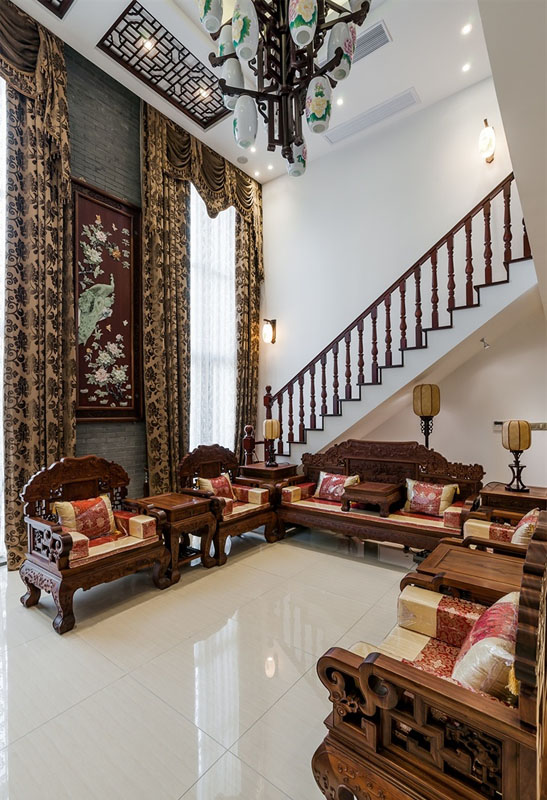 古典宫廷中式风格客厅实木家具装饰效果图_装修百科