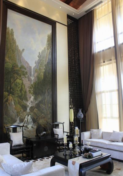 儒雅书香气息古典中式小别墅客厅装修案例图片