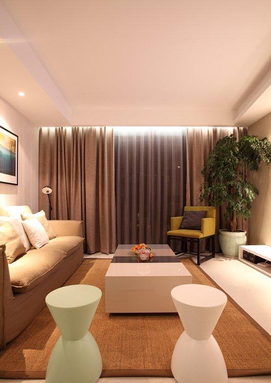 时尚简约温馨小户型公寓客厅软装装饰效果图_装修百科