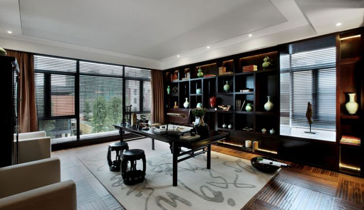 古典新中式书房落地窗设计图片