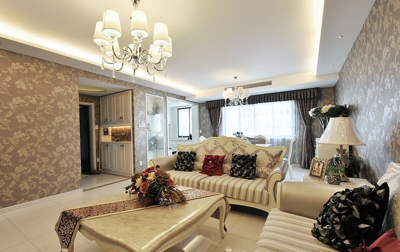 素色舒适欧式花色客厅墙纸效果图