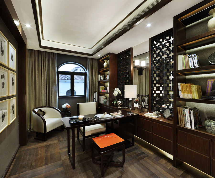 文雅古典现代风格书房设计装修图