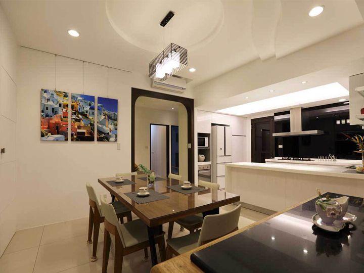 装修百科 装修效果图 装修美图 时尚现代小户型餐厨房吊顶隔断设计