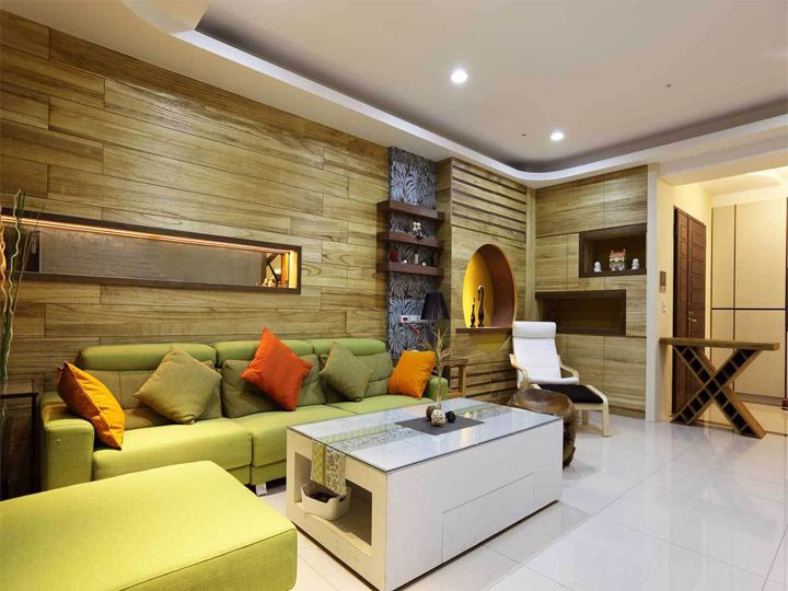 清爽现代小户型单身公寓客厅实木收纳背景墙设计图_装修百科